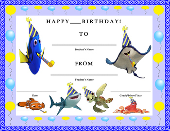 Birthday Certificate- Finding Dory Theme- Kids Will Love It!!