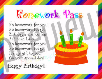 Birthday Certificate 4 Pack - Homework Pass Poem