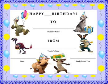 Birthday Certificate- Ice Age Collision Course Theme- Kids