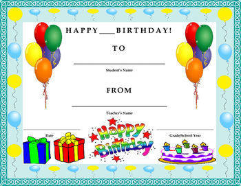 Birthday Certificate- Kids Will Love It!!