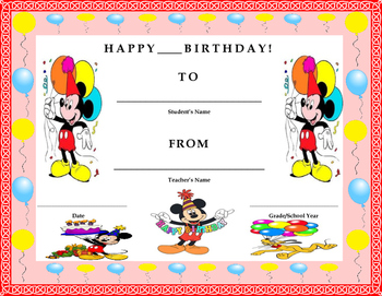 Birthday Certificate- Mickey Mouse Theme- Kids Will Love It!!