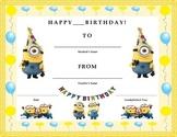 Birthday Certificate- Minions Theme- Kids Will Love It!!