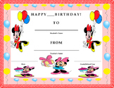 Birthday Certificate- Minnie Mouse Theme- Kids Will Love It!!