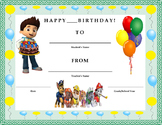 Birthday Certificate- Nickelodeon Paw Patrol Theme- Kids Will Love It!!