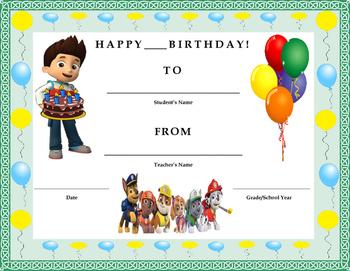 Birthday Certificate- Nickelodeon Paw Patrol Theme- Kids W