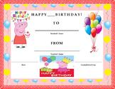 Birthday Certificate- Peppa Pig Theme- Kids Will Love It!!
