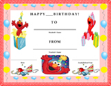 Birthday Certificate- Sesame Street Elmo Theme- Kids Will Love It!!