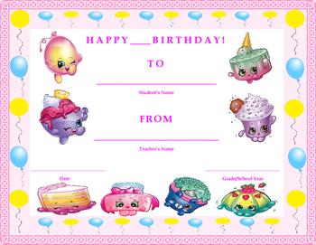 Birthday Certificate- Shopkins Theme- Kids Will Love It!!