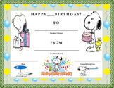 Birthday Certificate- Snoopy Theme- Kids Will Love It!!
