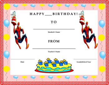 Birthday Certificate- Spiderman Theme- Kids Will Love It!!