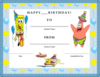 Birthday Certificate- SpongeBob Theme- Kids Will Love It!!
