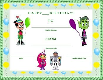 Birthday Certificate- Teen Titans Go! Theme- Kids Will Love It!!