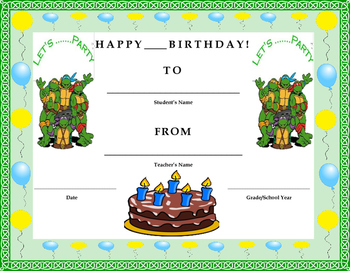 Birthday Certificate- Teenage Mutant Ninja Turtles Theme- Kids Will Love It!!