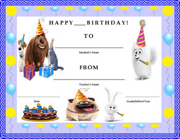 Birthday Certificate- The Secret Life of Pets Theme- Kids