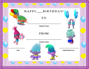 Birthday Certificate- Trolls Theme- Kids Will Love It!!
