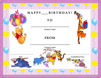 Birthday Certificate- Winnie the Pooh Theme- Kids Will Love It!!