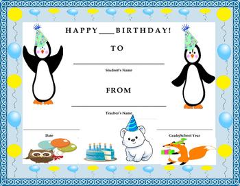 Birthday Certificate- Winter Theme- Kids Will Love It!!