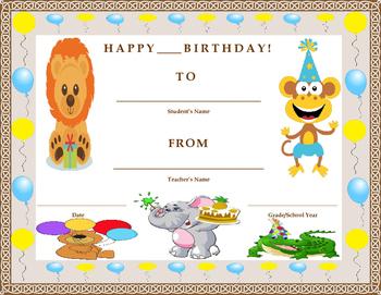 Birthday Certificate- Zoo Animal Theme- Kids Will Love It!!