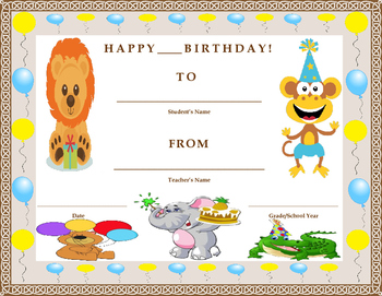 Birthday Certificate- Zoo Animal Theme- Kids Will Love It!!