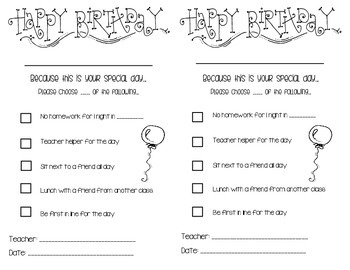 Birthday Certificates!!