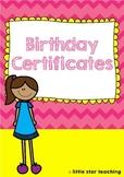 Student Birthday Certificates #btsfresh