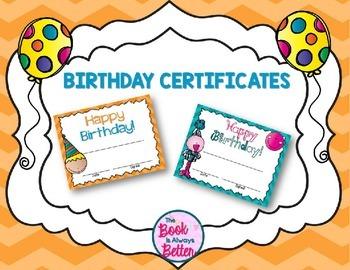 Birthday Certificates