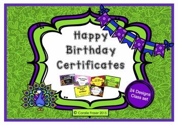 Birthday Certificates - Class Set