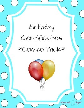 Birthday Certificates - Combo Pack