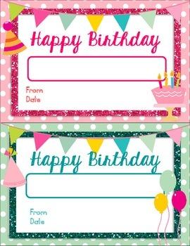 Birthday Certificates - Editable
