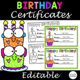 Editable Birthday Certificates