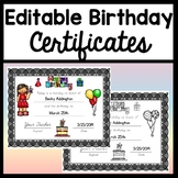 Happy Birthday Certificates {Fully Editable!} Color and Black and White