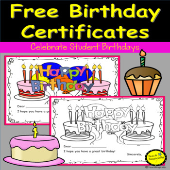 Teach Magically Free Birthday Certificates