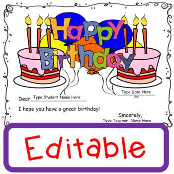 Birthday Certificates Free and Editable