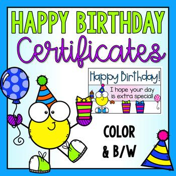 Birthday Certificates Freebie