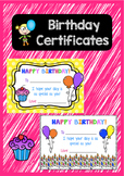 Birthday Certificates - HAPPY BIRTHDAY