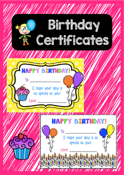 Birthday Certificates - HAPPY BIRTHDAY