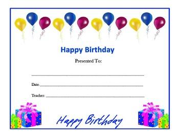 Generic Birthday Certificates (Includes 4)