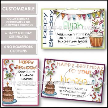 Birthday Certificates & NO Homework Coupons