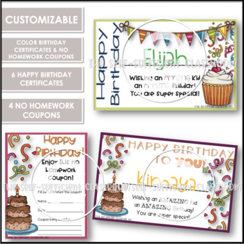 Birthday Certificates & NO Homework Coupons