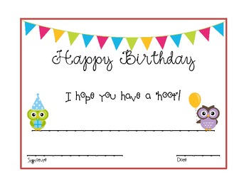 Birthday Certificates-Owl Themed