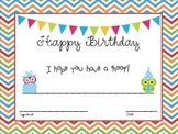 Birthday Certificates-Owl Themed