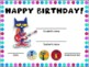 6 Birthday Certificates- Pete the Cat themed
