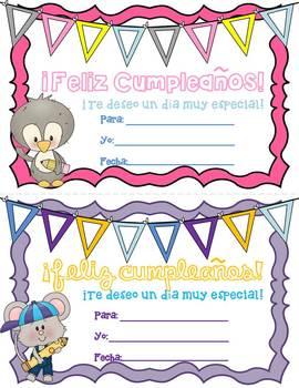 Birthday Certificates - Spanish and English