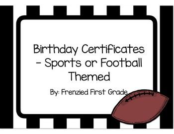 Birthday Certificates - Sports or Football Theme