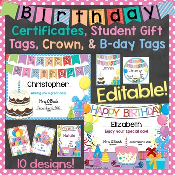 Birthday Certificates, Student Gift Tags, Brag Tags (Edita