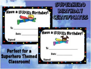 Birthday Certificates - Superhero Themed - Back to School