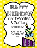 Birthday Certificates and Bulletin Board Posters