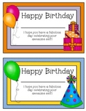 Birthday Certificates for Students