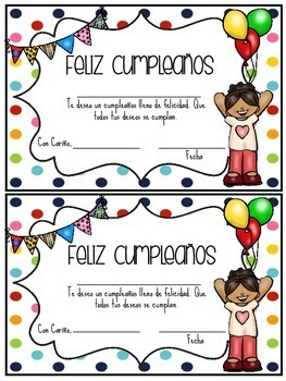 Feliz Cumpleaños Birthday Certificates in SPANISH