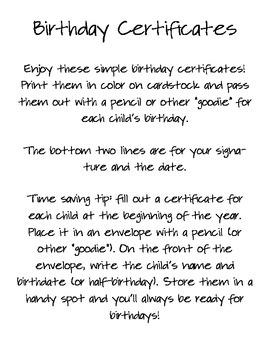 Birthday Certificates in Spanish